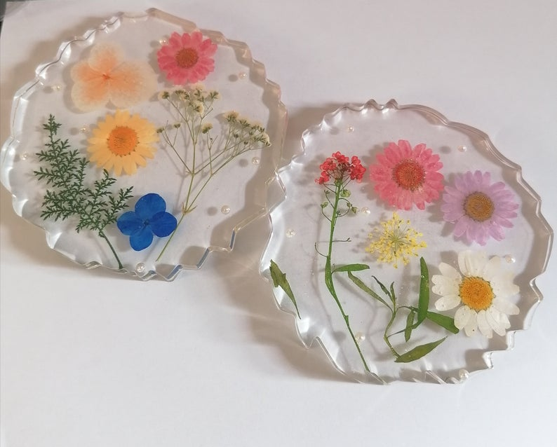 Personalised Resin Coasters With Real flowers